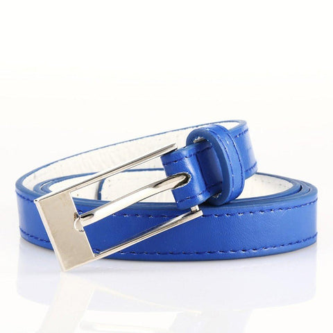 Ladies Bonded Leather Belt Top Stitch Rectangular Buckle Red Color - WholesaleLeatherSupplier.com  - 32