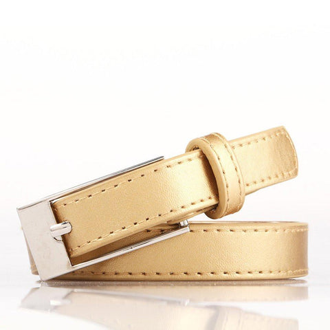 Ladies Bonded Leather Belt Top Stitch Rectangular Buckle Pink - WholesaleLeatherSupplier.com  - 16