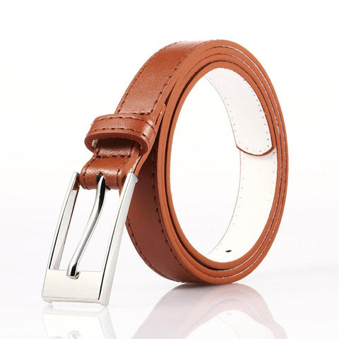 Ladies Bonded Leather Belt Top Stitch Rectangular Buckle Silver Color - WholesaleLeatherSupplier.com  - 4