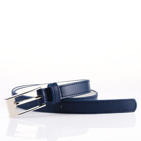 Ladies Bonded Leather Belt Top Stitch Rectangular Buckle Silver Color - WholesaleLeatherSupplier.com  - 10