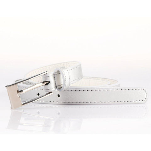 Ladies Bonded Leather Belt Top Stitch Rectangular Buckle Fuchsia Color - WholesaleLeatherSupplier.com  - 17