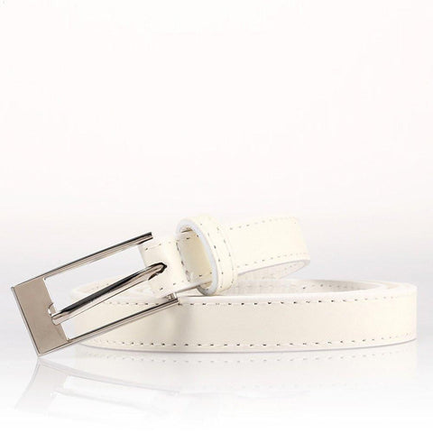 Ladies Bonded Leather Belt Top Stitch Rectangular Buckle Silver Color - WholesaleLeatherSupplier.com  - 29