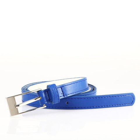 Ladies Bonded Leather Belt Top Stitch Rectangular Buckle Red Color - WholesaleLeatherSupplier.com  - 30