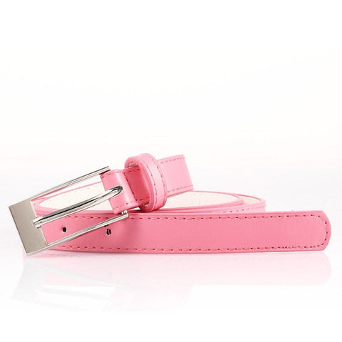 Ladies Bonded Leather Belt Top Stitch Rectangular Buckle Fuchsia Color