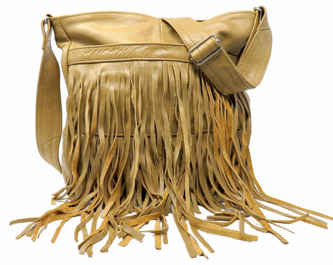 Deluxe Front-Fringed Leather Messenger Bag