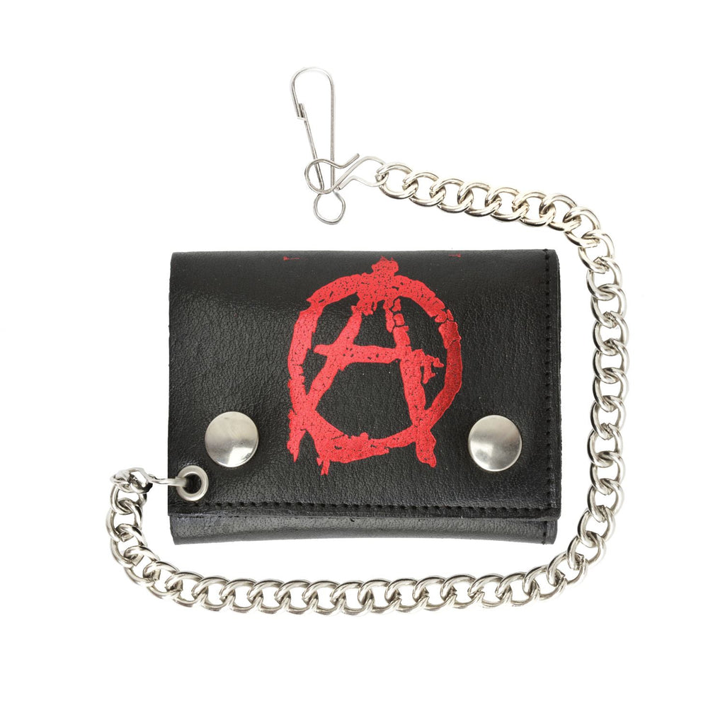 Leather Chain Wallet Red Anarchism