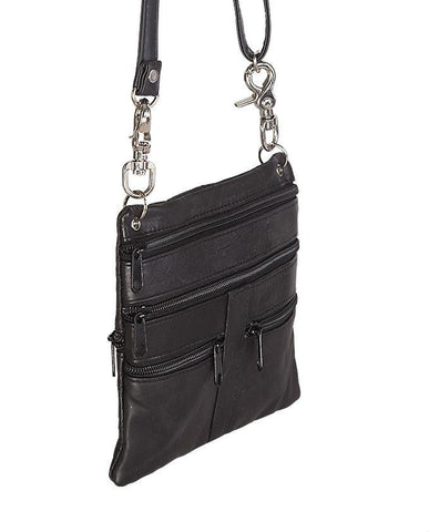 Leather Black Multiple Belt Bag