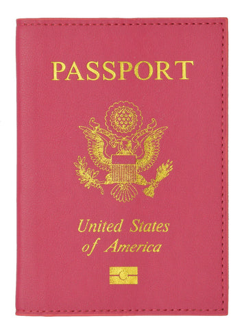 Leather USA Logo Passport Holder - Hot Pink
