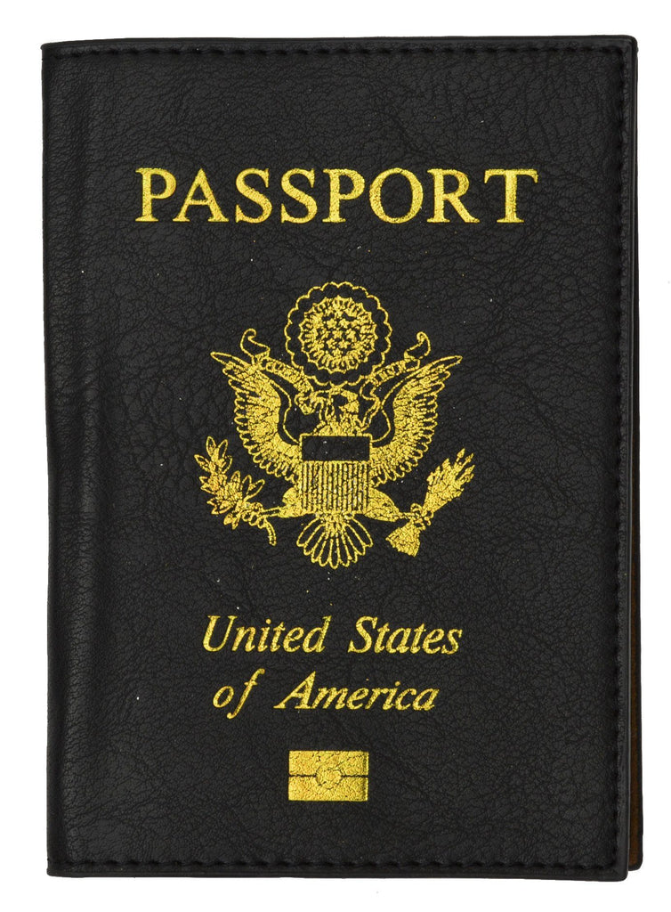 Soft Genuine Leather Passport Holder with a Fancy USA Logo - Unisex