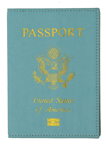 Leather USA Logo Passport Holder - Navy Blue - WholesaleLeatherSupplier.com  - 7