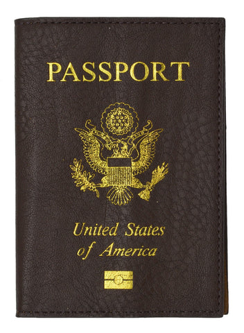 Leather USA Logo Passport Holder - Purple