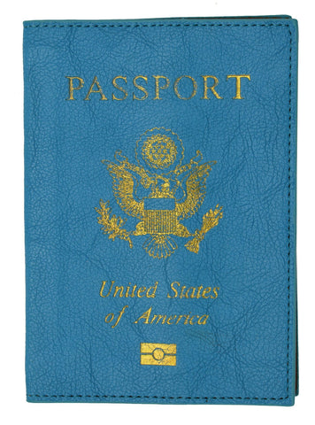 Leather USA Logo Passport Holder - Navy Blue - WholesaleLeatherSupplier.com  - 3