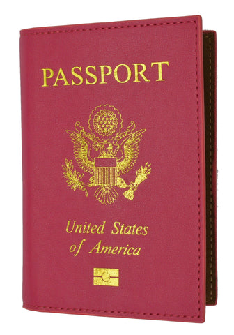 Leather USA Logo Passport Holder - Hot Pink - WholesaleLeatherSupplier.com  - 2