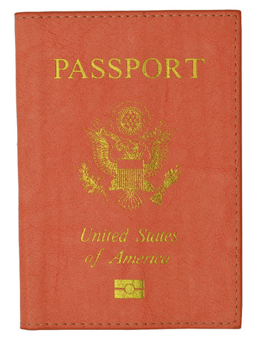 Leather USA Logo Passport Holder - Peach - WholesaleLeatherSupplier.com  - 2