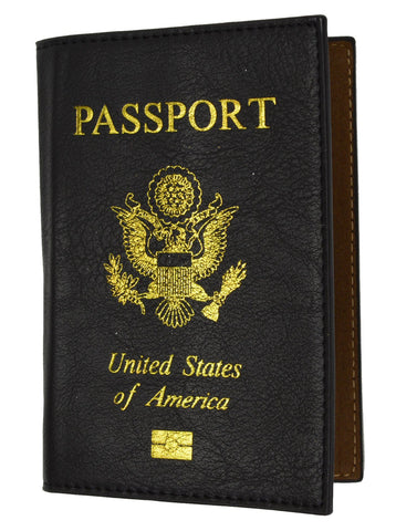 Vegan Leather USA Logo Passport Holder - Brown - WholesaleLeatherSupplier.com  - 3