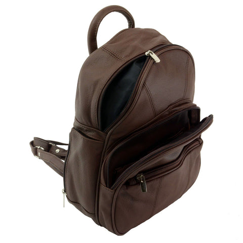 Sling Strap Multiple Pockets Organizer Leather Backpack