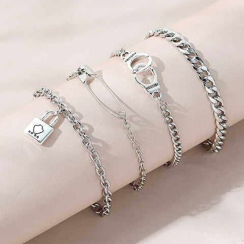Rock Lock of Love Silver Women Fashion Silver Bracelet set