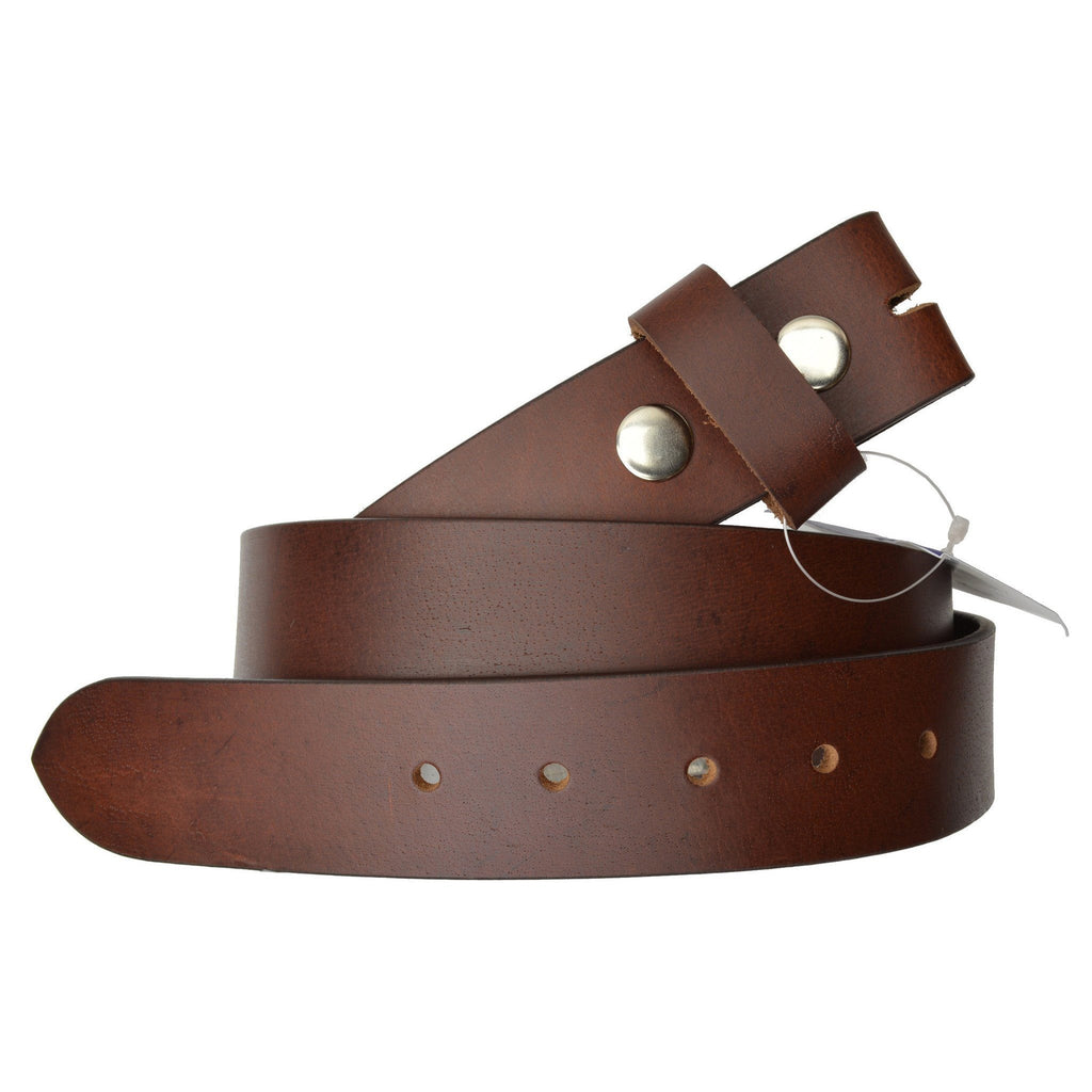 Genuine Leather Belt without Buckle - Brown - WholesaleLeatherSupplier.com