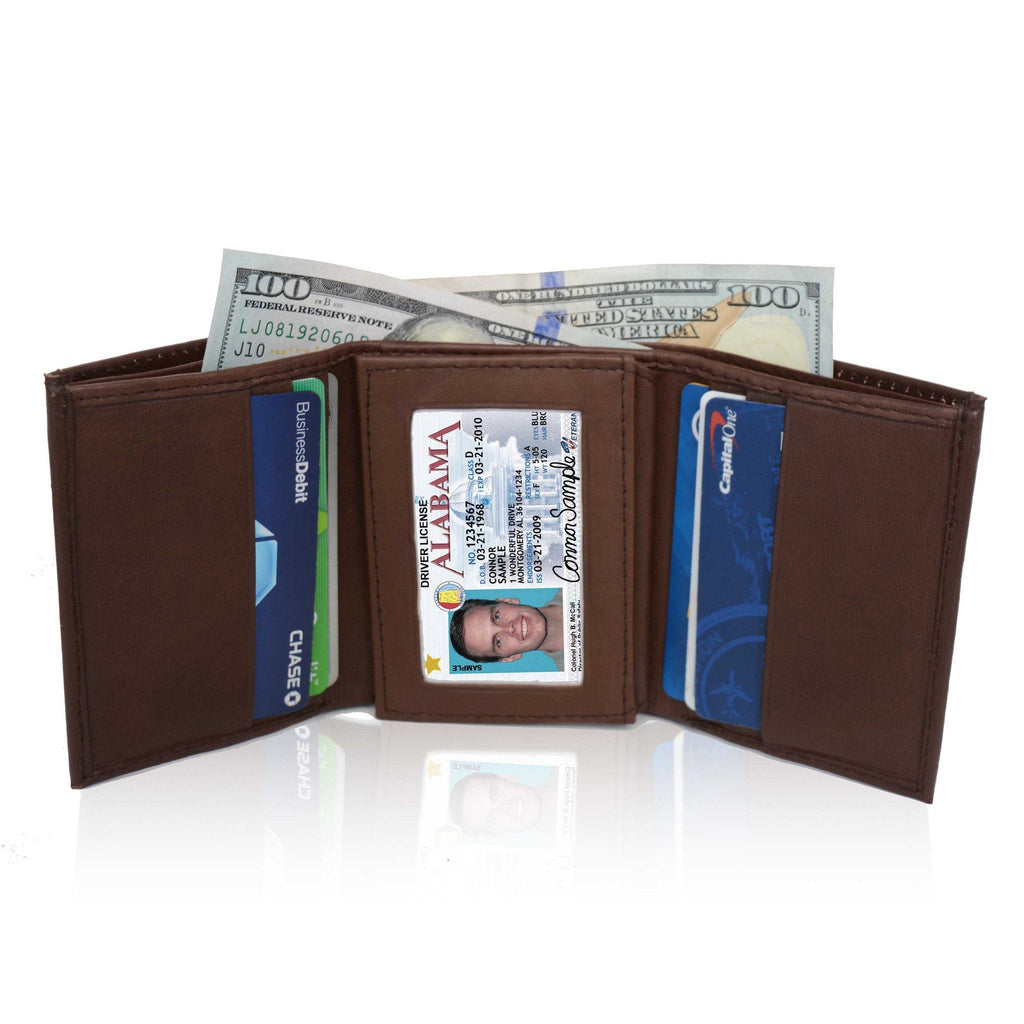 Genuine Soft Leather Tri-fold Wallet For Men - Brown - WholesaleLeatherSupplier.com