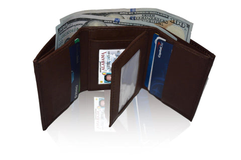 Genuine Soft Leather Tri-fold Wallet For Men - Brown - WholesaleLeatherSupplier.com  - 2