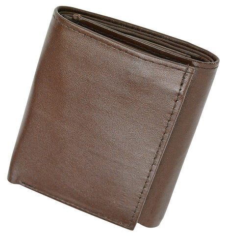 Genuine Soft Leather Tri-fold Wallet For Men - Black