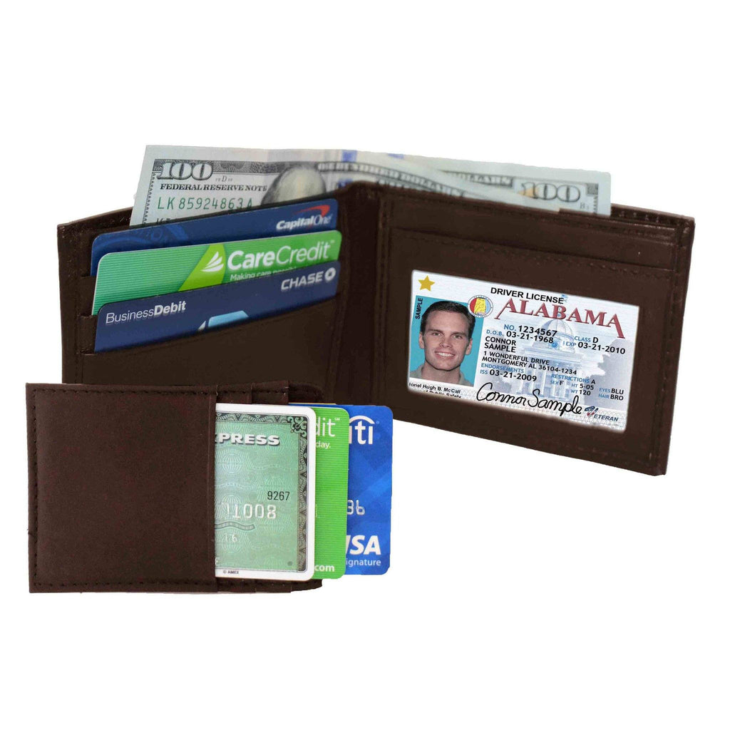 Genuine Leather Bi-fold with Removable Compartment - Brown