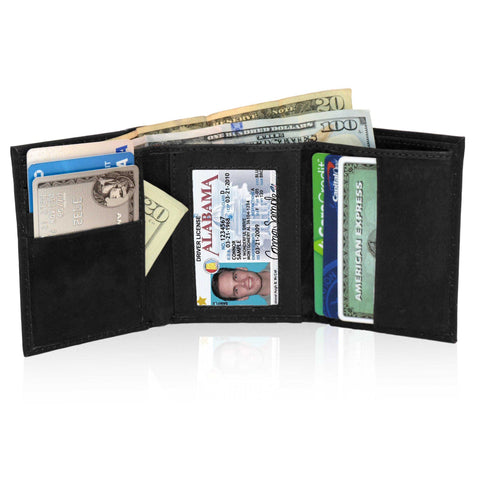 Deluxe Genuine Leather Tri-fold Wallet For Men - Black