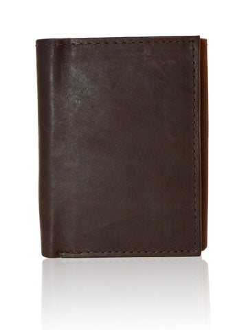 Deluxe Genuine Leather Tri-fold Wallet For Men - Brown