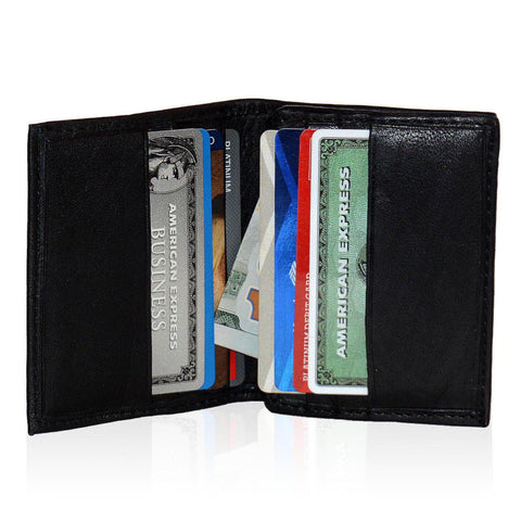 Compact Multi-Card Bifold Wallet for Men - Black