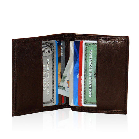 Compact Multi-Card Bifold Wallet for Men - Brown