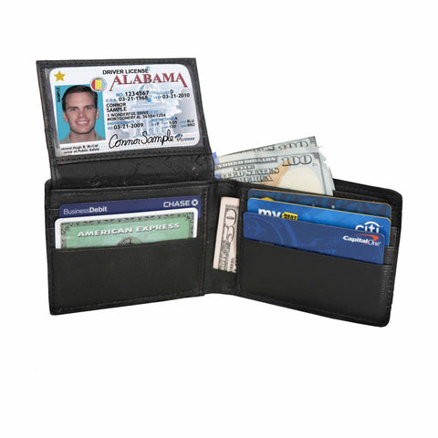 Genuine Leather Bifold Wallet with ID Windows For Men - Black