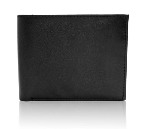 Genuine Leather Bifold Wallet with ID Windows For Men - Black - WholesaleLeatherSupplier.com  - 3