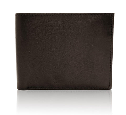 Genuine Leather Bi-fold with Removable Compartment - Black