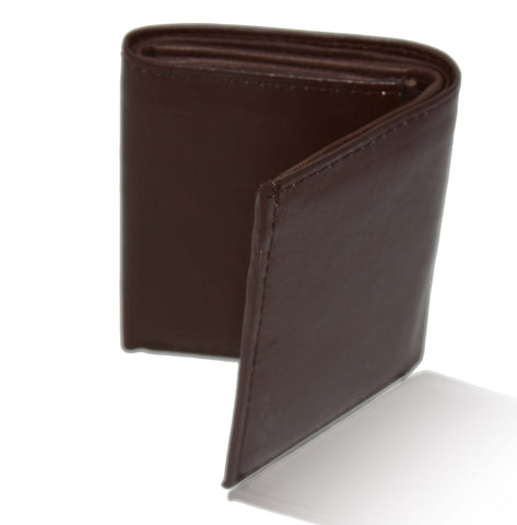 Deluxe Genuine Leather Tri-fold Wallet For Men - Black - WholesaleLeatherSupplier.com