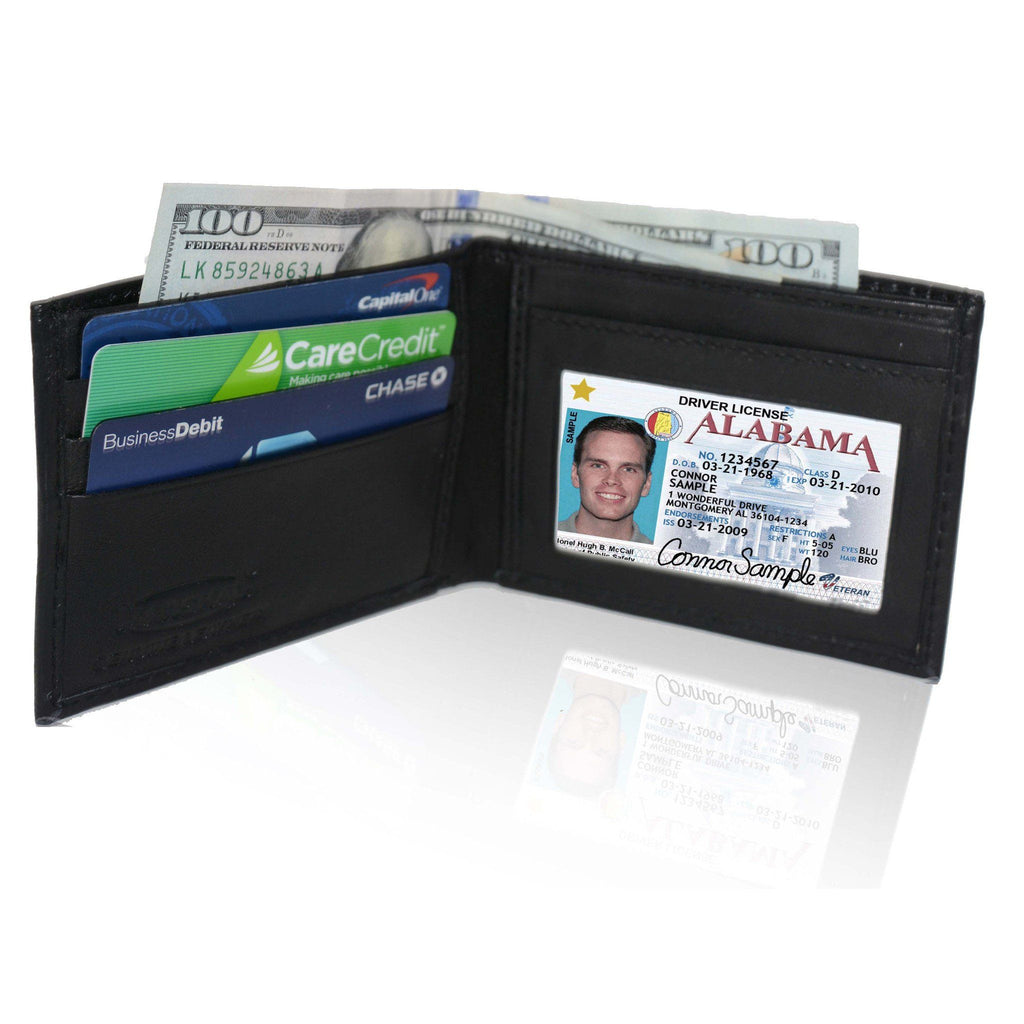 Genuine Leather Bifold - Black