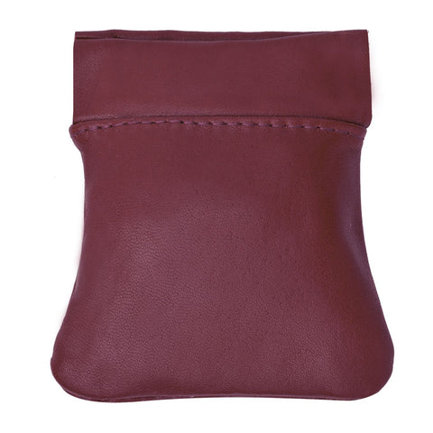 Classic Leather Squeeze Coin Pouch- Burgundy