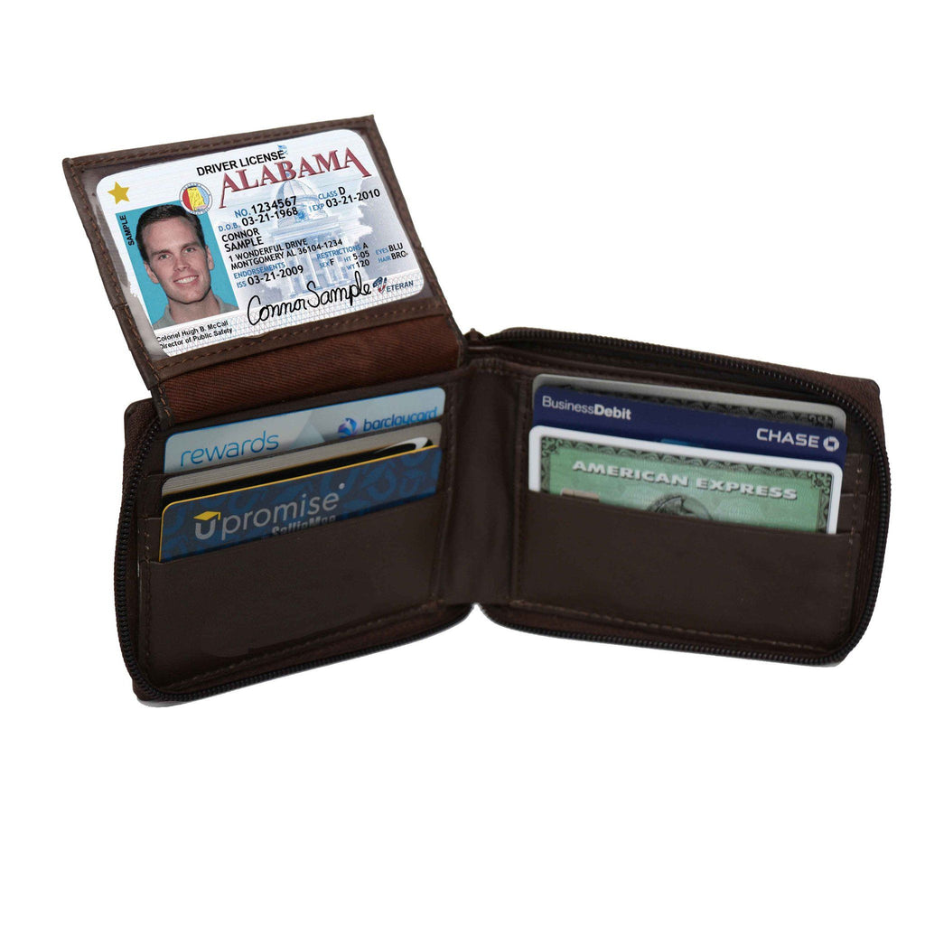 Genuine Flip ID Zipped Soft Leather Bifold Wallet - Brown - WholesaleLeatherSupplier.com