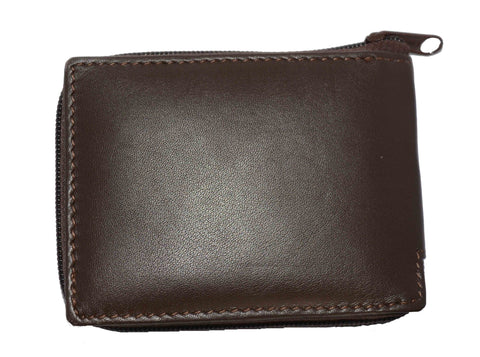 Genuine Flip ID Zipped Soft Leather Bifold Wallet - Brown - WholesaleLeatherSupplier.com  - 5