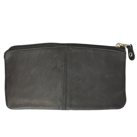 Buggy Carry All Leather Zipper Wallet - Black
