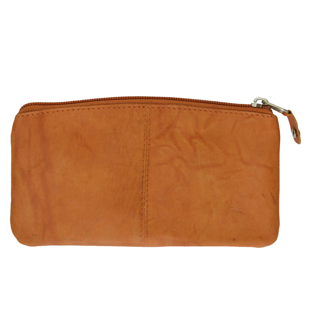 Buggy Carry All Leather Zipper Wallet - Tan