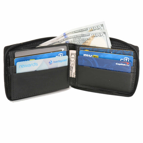 Genuine Leather Bifold Wallet Zippered - Black