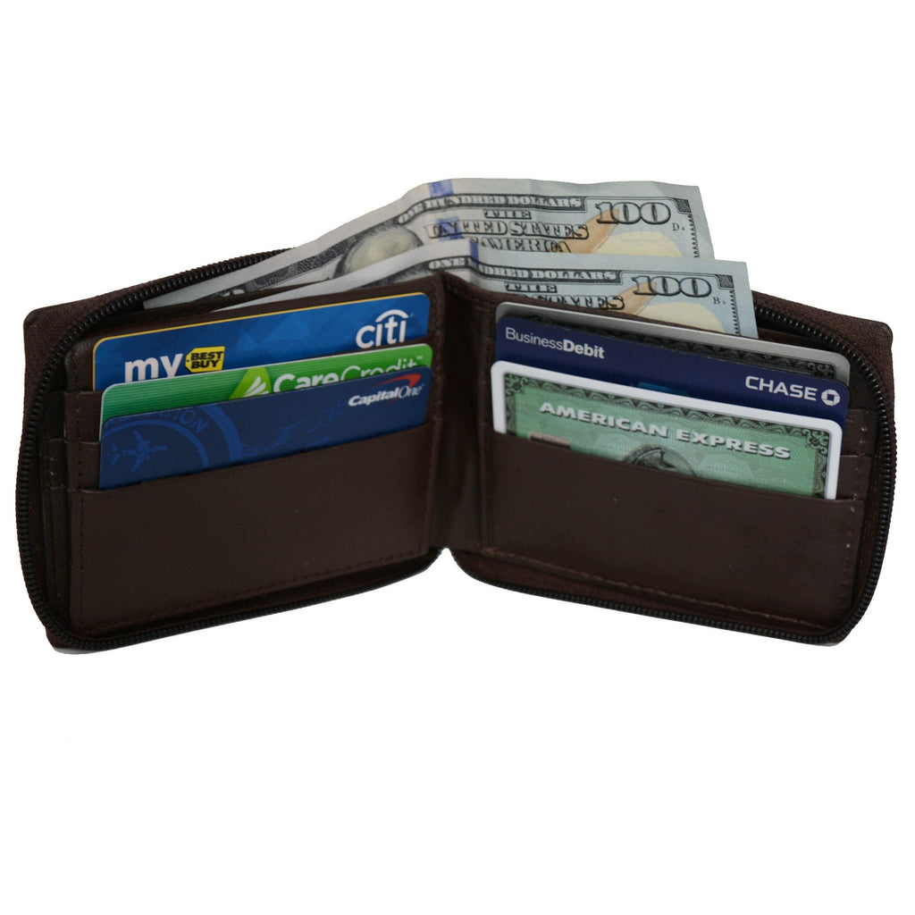 Genuine Leather Bifold Wallet Zippered - Brown - WholesaleLeatherSupplier.com