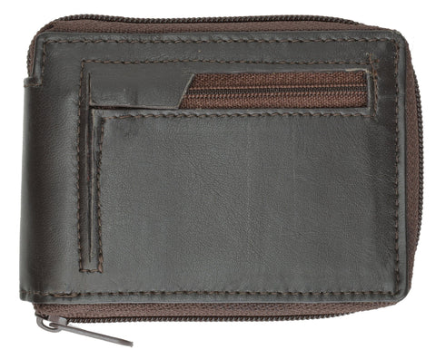 Genuine Leather Bifold Wallet Zippered - Brown