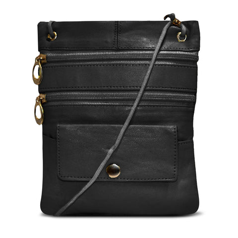 AFONiE Black Multi-Pocket Leather Crossbody Bag or Wallet