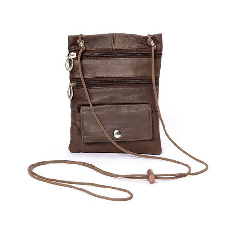 Genuine Leather Multi-Pocket Crossbody Purse Bag - Brown