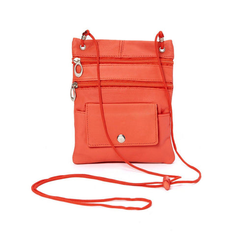 Genuine Leather Multi-Pocket Crossbody Purse Bag - Orange