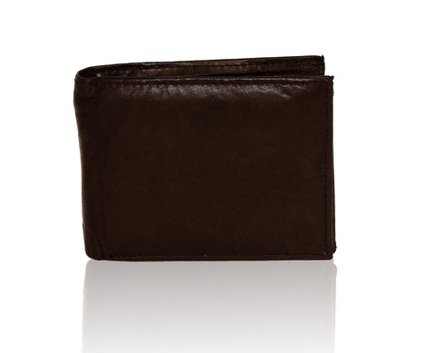 Genuine Men's Extra Capacity Leather Slimfold Wallet - Black