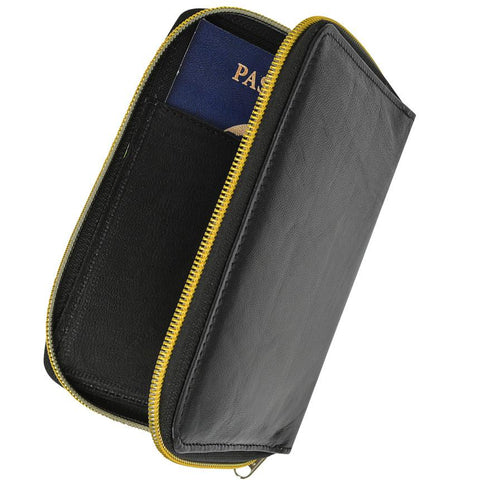 AFONiE- RFID Black Passport Cover Travel Protected Zip Around