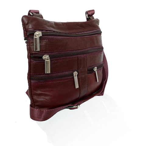 Genuine Leather Crossbody Mini Purse Organizer Travel Handcrafted Bag - Burgundy
