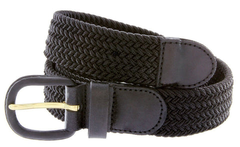 Unisex Braided Elastic Woven Stretch Belt with Genuine Leather Buckle - WholesaleLeatherSupplier.com  - 3